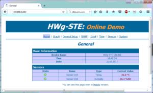 Panel de cotrol del termómetro ethernet HWg-STE