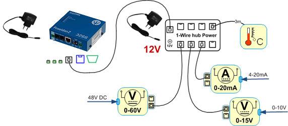ejemplo de uso del 1-wire hub power alimentado