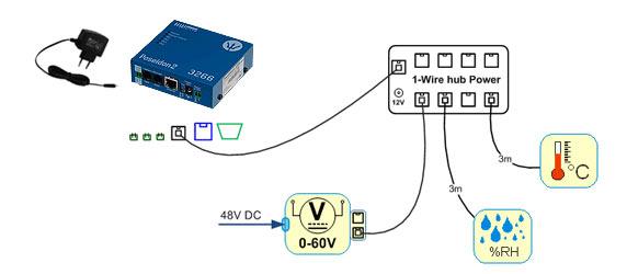 ejemplode uso del 1-wire hub power sin alimentar